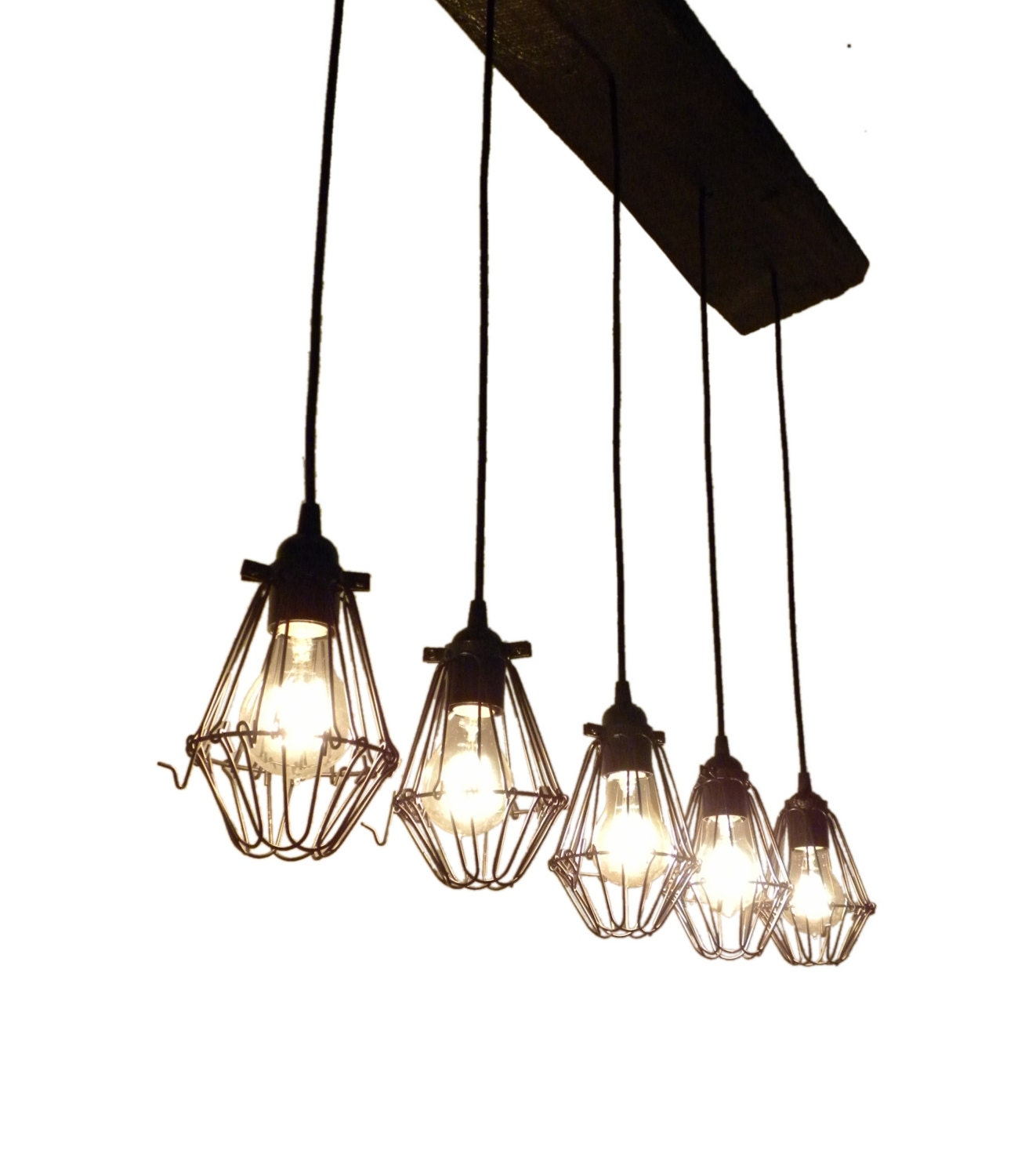 Modern reclaimed wood chandelier pendant light urban for Wood pendant chandelier