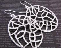 Filigree Hoop Earrings -- Silver Oval Hoops -- Textured Silver Earrings -- Stained Glass Earrings -- Bulk Price Earrings