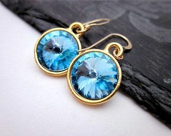Aquamarine Dangle Earrings -- 12mm Blue Earrings -- Gold & Aquamarine Earrings -- Aquamarine Crystal Earrings --Aquamarine Swarovski Dangles