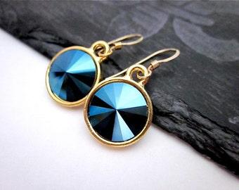 Deep Blue Earrings -- Metallic Blue Earrings -- Dark Blue Crystal Earrings -- Round Blue Swarovski Earrings --Metallic Blue Crystal Earrings