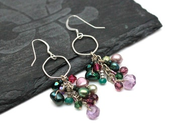 Purple Green Bead Earrings -- Gemstone Cluster Earrings -- Beaded Sterling Hoop Earrings -- Gemstone Hoops -- Amethyst & Emerald Earrings