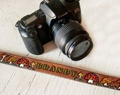 Custom Leather Camera Strap - Toadstools and Leaves Pattern - Personalized and Made to Order by Mesa Dreams - Mushrooms, Forrest, Woodland