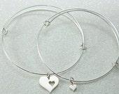 Mother Daughter Bangle Bracelets, Sterling Silver Heart Charms,Adjustable Bracelet Set, Friendship Bracelets