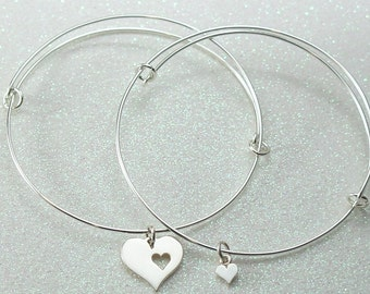 Mother Daughter Bangle Bracelets, Sterling Silver Heart Charms,Adjustable Bracelet Set, Friendship Bracelets