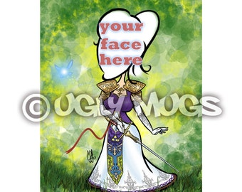 Custom Legend of Zelda Princess Caricature from Photos