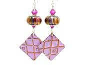 Pink & Purple Mixed Metal Earrings, Metalwork Earrings, Copper Earrings, Lampwork Earrings, Glass Earrings, Dangle Earrings, Boho Earrings