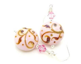 Pink Earrings, Lampwork Earrings, Glass Earrings, Glass Bead Earrings, Beadwork Earrings, Glass Art Earrings, Lampwork Jewelry