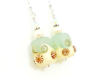 Aqua Blue Seashell Earrings, Sea Glass Earrings, Beach Earrings, Lampwork Earrings, Glass Earrings, Beadwork Earrings, Beach Jewelry