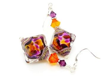 Purple & Orange Earrings, Crystal Shape Earrings, Lampwork Earrings, Unique Earrings, Beadwork Earrings, Dangle Earrings