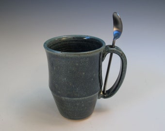 Variegated Blue Green Large Office Desk Mug and Spoon Set - for Coffee or Tea