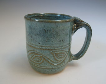Large Frosty Blue-Green Carved Mug Stein - Beer Coffee Tea - Holds 17 ounces