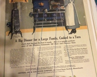 1917 Florence oil Cook Stoves ad. 13x 10 suitable for framing.