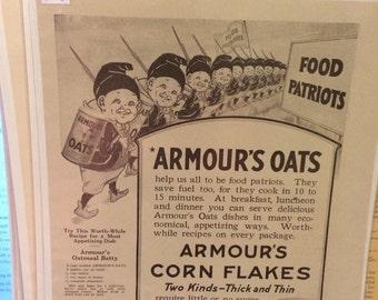 Armour's Oats print ad circa 1918 8 x 11. WW1 food patriots