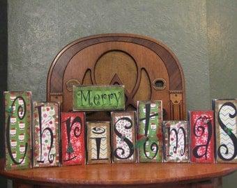 Christmas Sign Word Blocks - Merry Christmas, Christmas Decoration, Christmas Decor, Christmas Word Art