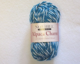Nob Hill Alpaca Charm Yarn Color Teal and White DISCONTINUED