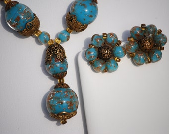 Murano Glass Demi Parure Necklace & Earrings Blue Gold Specks Brass/Vintage Jewelry Set Tributed to Murano Glass