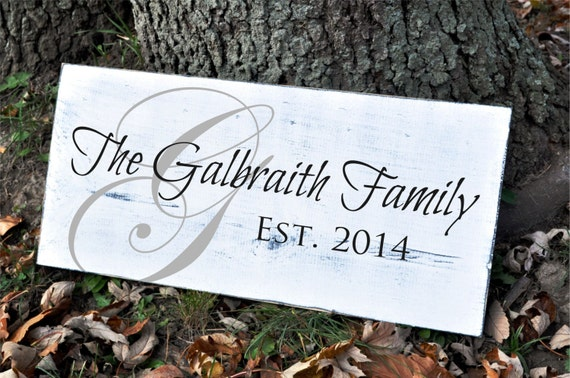 Personalized Family Name Sign Distressed Rustic Plaque 9x20
