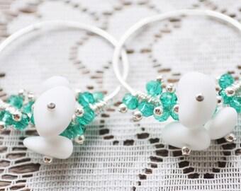 Sea Glass Jewelry Beach Earrings Milk White 30mm Hoops Sterling Swarovski Crystals Genuine Sea Glass Hoop Earrings Free Shipping 9007