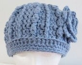 Crocheted Ribbed Hat with Flower Blue Ladies Small Handmade