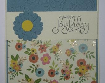 Happy Birthday Flowers and Foil handmade Card 002B