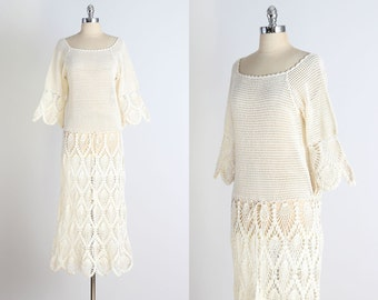 Bixby Canyon . vintage 1970s dress . vintage crochet dress . 4874