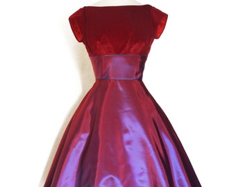 UK Size 10 Magenta and Blue Two-tone Shot Vintage Taffeta & Velvet Party Dress - Made by Dig For Victory R.T.S