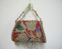 Antique Vintage Native American Beadwork IROQUOIS Indian Beaded Bag Purse
