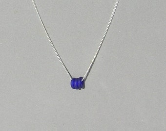 Cobalt Blue Seaglass Glass Donuts Necklace