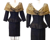 1980s Avant Garde Peplum Suit, Gold Striped Peplum Jacket and Pencil Skirt, 50s Style Women's Skirt Suit