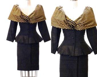 1980s Avant Garde Peplum Suit, Gold Striped Peplum Jacket and Pencil Skirt, 50s Style Women's Skirt Suit