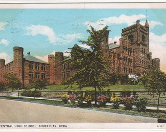 Central High School Sioux City Iowa 1931 postcard