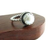 Sterling Silver White Pearl Ring Bezel Set Pearl Ring Sterling Silver Handmade Jewelry Sterling Silver Antiqued Pearl Ring Engagement Ring
