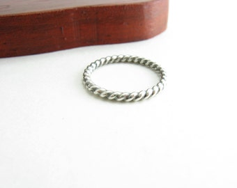 Twisted Sterling Silver Rope Ring Simple Twisted Style Ring Band Stacking Ring Wedding Band Handmade Metal Jewelry Made To Order