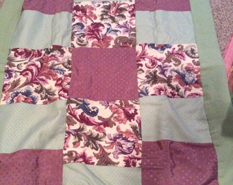 Upholstery Plum And Green Quilt