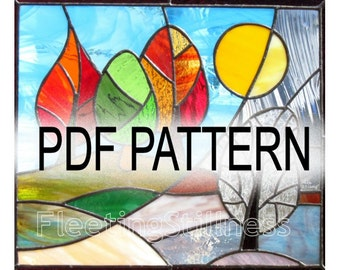 PDF Pattern for Stained Glass - Change of Seasons FleetingStillness Original Design