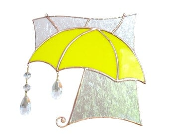 Stained Glass Sun Catcher Yellow Umbrella Rain Clouds Handmade OOAK