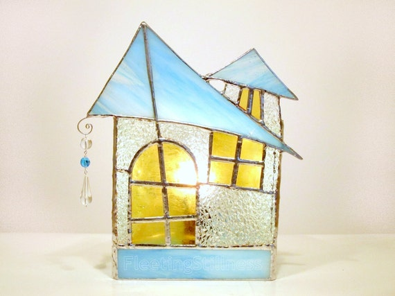 Stained Glass Lamp Turquoise Ice Cottage Handmade OOAK