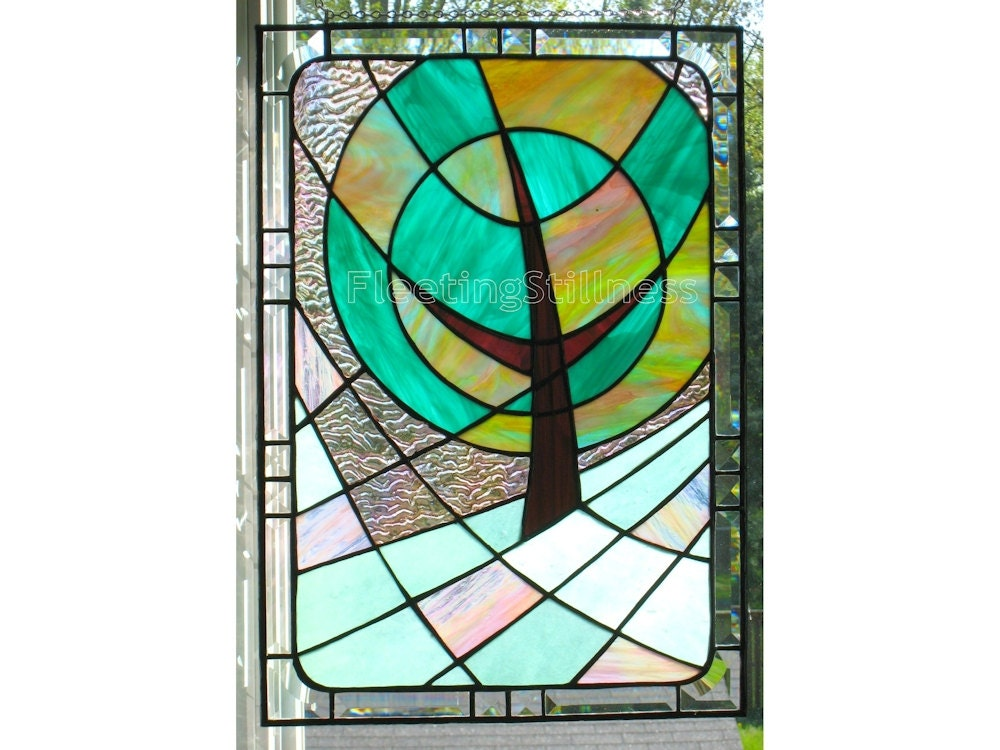 stained glass window panel modern landscape pink green. Black Bedroom Furniture Sets. Home Design Ideas
