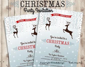 Christmas Party  invitation - Holiday Invitation - Printable digital file