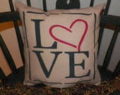 UNSTUFFED Primitive Pillow COVER Love Bedroom Decoration Country Home Decor Valentine Day Gift Idea Present Romantic Wedding wvluckygirl