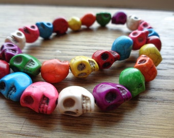 Skull Beads Multi-colored Magnesite (dyed)  Full Strand 12x10mm
