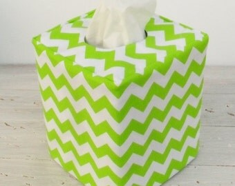 Lime green chevron reversible tissue box cover
