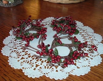 "Two Burgundy Mini Pip Candle Rings 1.5"" center  Primitive Crafts Folkart Doll Making Wreaths Swags"