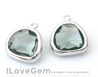 NP-1640 Rhodium Plated, Black Diamond, 11mm, Faceted Fancy Drop, Glass, pendant, 2pcs