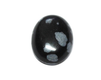 Natural Snowflake Obsidian Oval Cabochon - 16.0 x 11.9 x 5.1 mm - 6.8 ct - 141205-28
