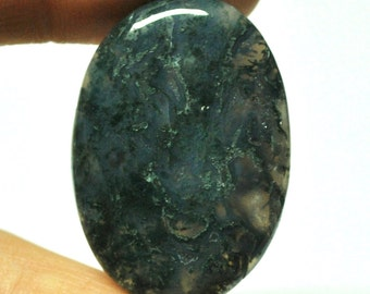 Natural Moss Agate Oval Cabochon - 35.2 x 29.7 x 9.9 mm - 35.3 ct - 150110-44