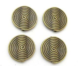 4 Beads - 17 mm wide concentric circles spiral design brass tone metal beads - BD644