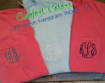 Comfort Color Pocket T Shirt with FREE MONOGRAM long sleeve