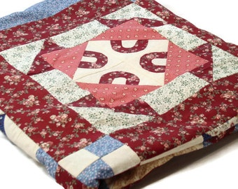 Full/Queen size Sampler Quilt Top of Twelve Different Blocks in Burgundy, Pink, blue/ Unfinished, Ready to Finish,