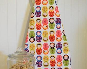 Designer Ironing Board Cover - Little Kukla Wooden Dolls Bright White